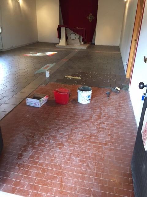 fase finale lavori del pavimento