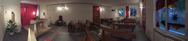 panoramica della chiesa a lavori pavimento terminati