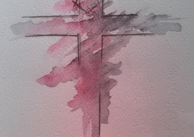 Croce: Acquarello su cartoncino di Serena Amendola
